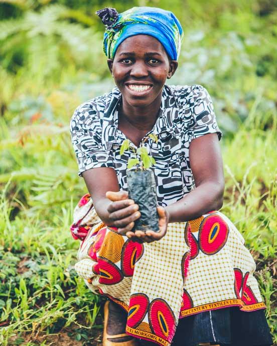 woman tree planting in Zambia