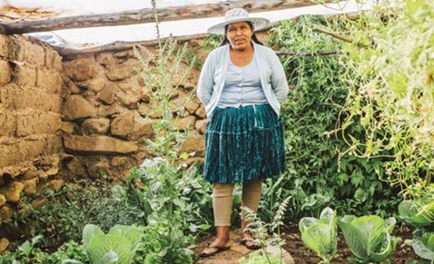 Nutrition - Bolivian woman in garden