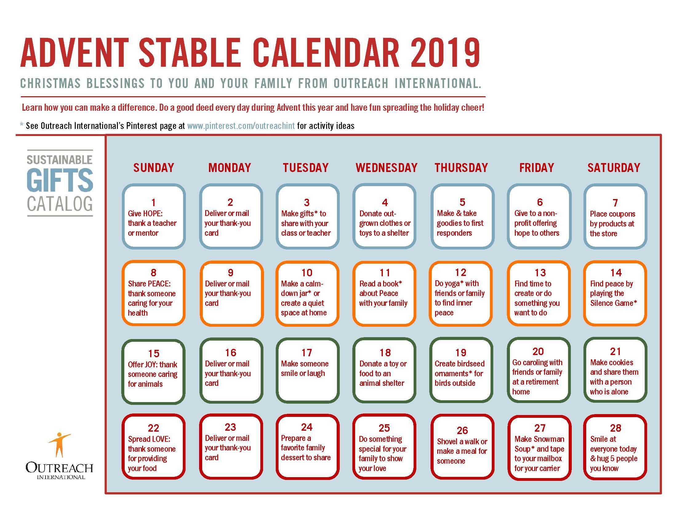 Advent Stable Calendar 2019