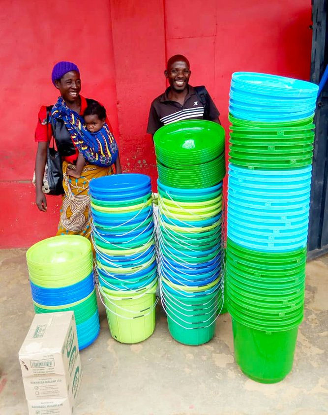 Bucket supplies purchased by community members in Malwai