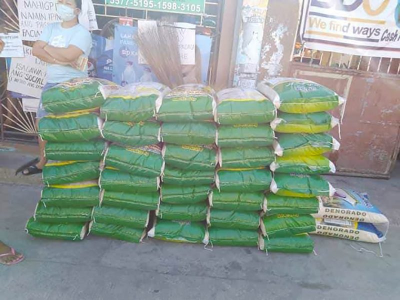 Bags of rice to be distributed to community members