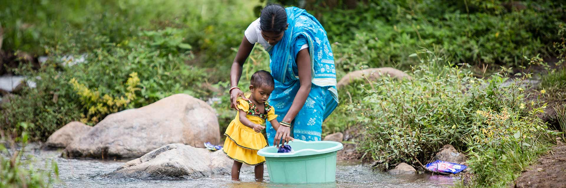 Indian Child with Mother at Stream