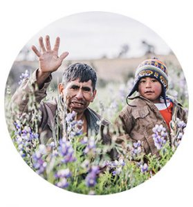 Bolivian man and child
