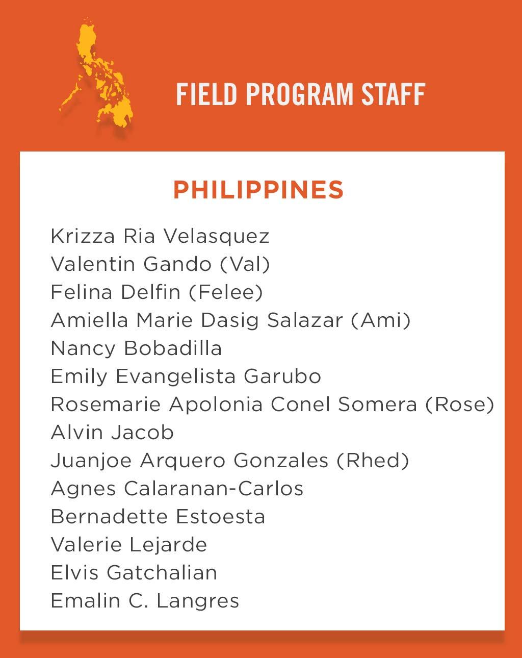 Philippines Field Program Staff