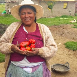 A community partner from Bolivia shows off some of the crops she grew in her new greenhouse