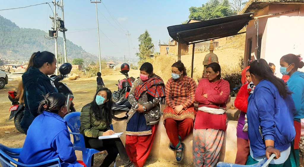 Human Development Facilitator meeting with community members in Nepal