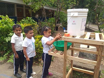 COVID response handwashing station in Nicaragua, Outreach International 2020 highlights