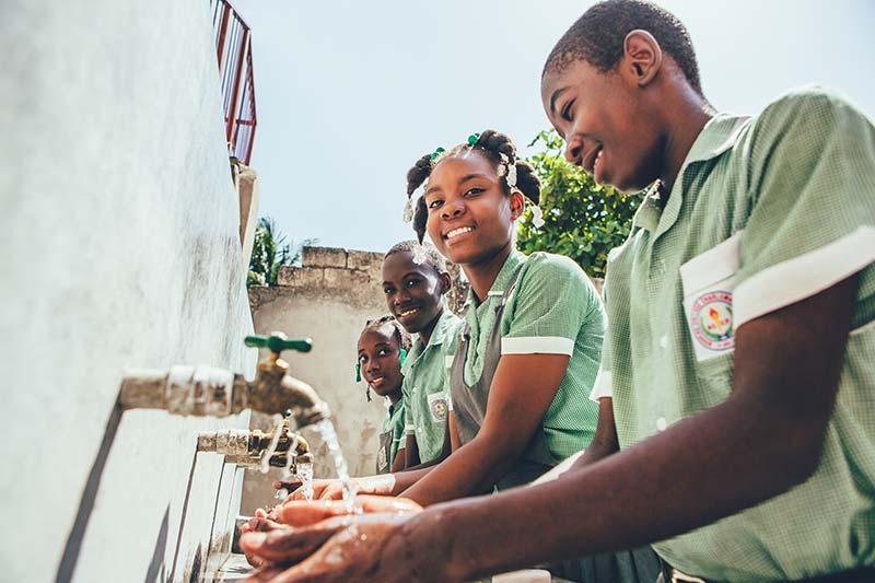 COVID response handwashing stations in Haiti